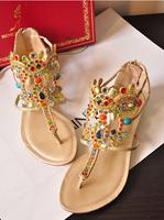 Rc flat flip-flop sandals multicolour gem rhinestone genuine leather picturecard women's shoes free shipping