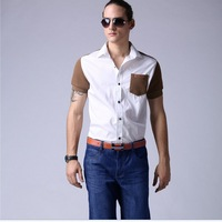 White shirt male short-sleeve shirt brief fashion slim 100% cotton short-sleeve shirt color block patchwork