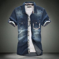 2013 all-match male water wash denim short-sleeve british style brief laciness plus size short-sleeve shirt