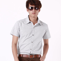 Short-sleeve shirt brief small plaid slim peaked collar personality