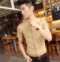Cychomme male british style brief solid color short-sleeve shirt stand collar leather buckle on shirt