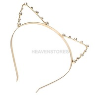 Sexy Cat Ear Girl Head Band Beaded Hair Band Metal Fashion Gold hv3n