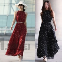 Free Shipping polka dot sleeveless vest loose expansion bottom full long dress with belt #T0065