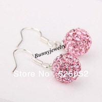Min.order is $10 Free Shipping Women's Pink 10mm Shamballa Crystal Ball Drop Earrings Valentine's Day Gift