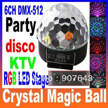 6 Channel DMX512 Control Digital LED RGB Crystal Magic Ball Effect Light DMX Disco DJ Stage Lighting 90-240V Free Shipping