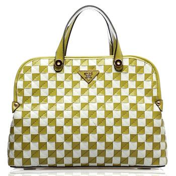 oppo bags 9789-2 fashion patent leather patchwork plaid handbag women's handbag 2013