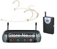 Beige UHF wireless headset microphone system | wireless headworn DJ microphone