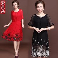 Fashion 2013 quality embroidery flower dress mulberry silk dress silk one-piece dress s001