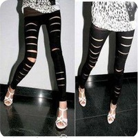 Free Shipping In The Fall Of 2013 The New Matte Imitation Leather Hole Leggings