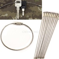 #Cu3 10PCS Stainless Steel Wire Keychain Cable Key Ring for Outdoor Hiking