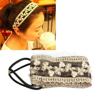 Sweet Beads Lace Wide Elastic Headband Bridal Hair Ornaments Band  NI5L