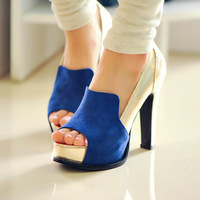 2013 personality british style high-heeled shoes cool all-match patchwork women's open toe shoes thick heel platform shoes