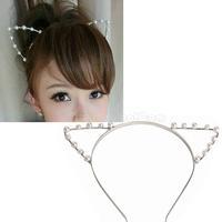 Sexy Cat Ear Girl Head Band Beaded Hair Band Metal Fashion Silver  NI5L