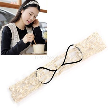 Unique Beads Lace Wide Elastic Headband Bridal Hair Ornaments Band  NI5L