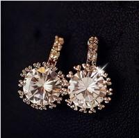 New Arrival 18K rose Gold earrings AAAA grade cubic Zirconia bijoux women wedding jewelry fashion earrings 2014 free shipping