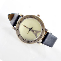 2013 new women PU leather dress watch,vintage charm bracelet quartz Rome time Eiffel Tower watch for ladies,C1220
