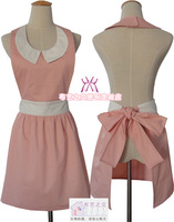 Wholesale Pink square collar fashion aprons beauty work aprons lounge oversleeps