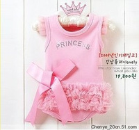 retail baby romper infant rompers boy's girl's Wear The lovely princess pink bow lace Romper baby clothes free shipping