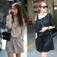 Summer Hot Womens Fashion Casual Solid Color Strapless Jumpsuit Short Sleeve Romper 75428/75429