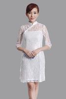 "White New Chinese Women's Lace Qipao Mini Cheong-sam Evening Dress Flower S M L XL XXL "" LGD E0019 """