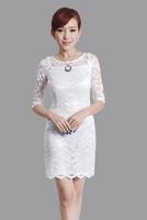 "White New Chinese Women's Lace Qipao Mini Cheong-sam Evening Dress Flower S M L XL XXL "" LGD E0017 """
