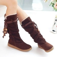 Free shipping! Hot sale sweet lovely women/lady boots, beautiful&fashionable beaded tassel flat boots for women/lady in winter