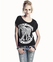 2014 New Summer Fashion Tame My  Wild Heart Leopard Print O-neck Black Female Short-sleeve T-shirt Size:XS-XXL