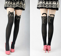 Free Shipping Cute Cat Tail Kitten Knee High Tattoo Stockings Pantyhose Tights