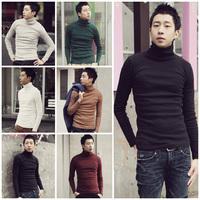 hot sale  autumn and winter men's  thin slim multi-color turtleneck sweater basic shirt /black vine red white M L XL XXL