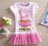 Free Shipping 2013 peppa pig girls clothing new dress onsie lace dress one piece retail dresses 50 pcs/lot