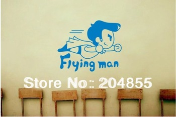 Lovely Flying Men Pattern PVC Cabinet Sticker Garderobe Sticker Bookcase Decor