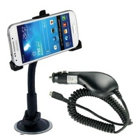 New Arrival Suction Cup Car Holder + Car Charger for Samsung Galaxy S4 IV mini / i9190