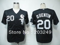 Chicago White Sox #20 Carlos Quentin black  jerseys, free shipping by china post air mail