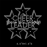 DHL Free shipping 50pcs/Lot Cheer leader rhinestone iron on transfers motif