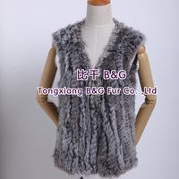 BG27864  100% Real Rabbit Fur Vest  Wholesale Retail Slim Black Women Winter Fur Vest Rabbit Fur Vest