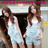 2013 summer all-match vintage jumpsuit denim bib pants suspenders shorts female