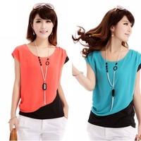 2014 new fashion plus size t shirt women clothing summer sexy tops tee clothes blouses t-shirts loose chiffon WA