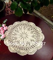 Free shipping wholesale 100% cotton hand made Crochet cup mat,Ecru Doily 40CMX40CM 6PCS/LOT
