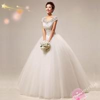 New Fashion Luxury Lace Embroidered Paillette Short Sleeve Plus Size Floor Length Wedding Dress Bride Princess Formal Dresses