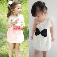 2013 Fashion Baby Girl Dresses Rose White Children Pink Lace Flower Dress Princess Kids Dess Free shipping Drop shipping XL0100