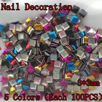 [MDD-001] 500PCS/PACK 5 Colors (Each 100PCS) 3X3mm Nail Metallic Decoration 3D Metal alloy Nail Art Decoration + Free Shipping