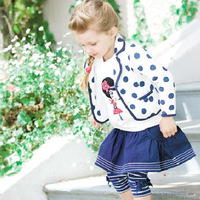 Kids Baby Girls Polka Dots 3 PCS Set Coat+T-shirt+Culottes Outfits Costume 1-6Y Free shipping & Drop shipping XL101