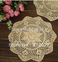 Free shipping wholesale 100% cotton Ecru Doily hand made Crochet cup mat, ,cup pad,coaster 30CMX30CM 12 PCS/LOT