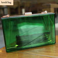 2014 desigual bags fashion vintage acrylic transparent box clip package chain party evening bag women shoulder bag day clutch