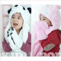 1 Piece Retail Lovely Free Shipping Cartoon Animal Panda Rabbit Shape Design White Pink Color Children Hats Scarf Set Kids Caps