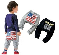 KZ-376,5 pcs/lot Free shipping korean baby haren pants sports type kid pants The American flag print child trousers wholesale