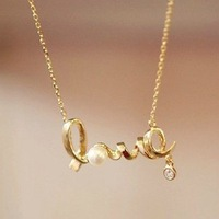 Free shipping,Min order 15$ (Mixed order) Wholesale Popular Romantic Cute Spiral Word Love Pearl Alloy Costume Chain Necklace