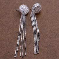 E048 High Quality! Free shipping silver rose stud earring.fashion jewelry jewellry Stud earrings
