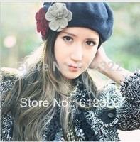 Free shipping fashion flower Wool Beret Hat Winter Warm Hat women cap 5pcs/lot