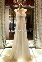 Sleek Cap Sleeves Beaded Waistline Chiffon Sweep Train Empire Modern Wedding Dresses
